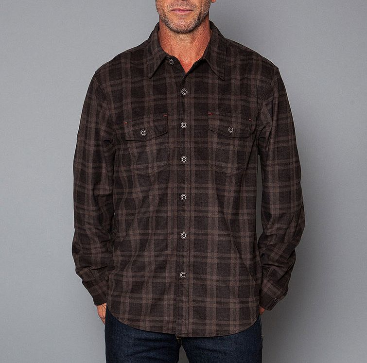 Tommy Bahama Sueded Plaid Long Sleeve Two Pocket Shirt